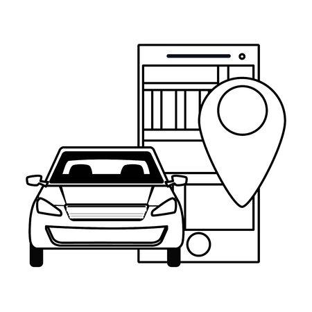 car transport sedan vehicle with technology gps location cartoon vector illustration graphic design