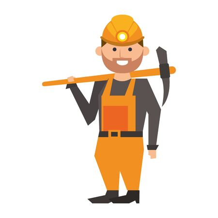 Mining worker holding pick tool cartoon vector illustration graphic design