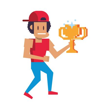 Retro videogame pixelated gangster with trophy cup cartoons isolated vector illustration graphic design