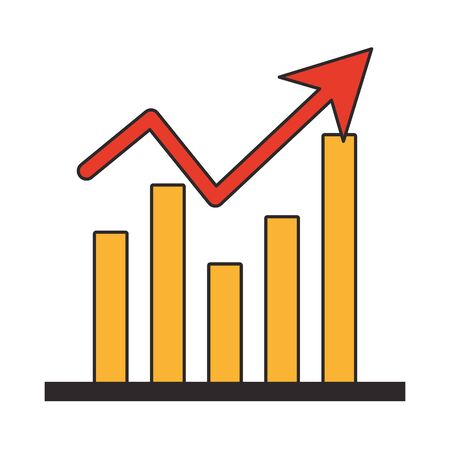 Statistics graph growing business symbol vector illustration