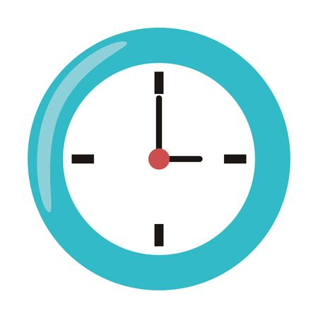 Clock round frame time symbol isolated illustration editable image