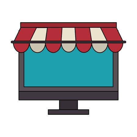 deliverycommerce online sales computer cartoon vector illustration graphic design  イラスト・ベクター素材