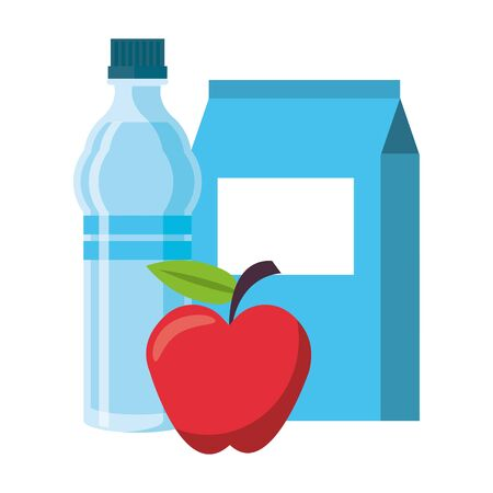food and healthy life and milk water flask apple symbols vector illustration graphic design Standard-Bild - 129471178