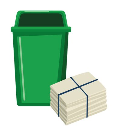 plastic garbage can and paper moored icon cartoon vector illustration graphic design Illustration
