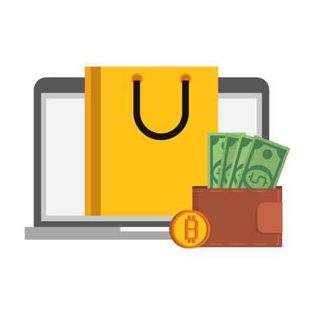 Bitcoin cryptocurrency buy online from laptop and wallet symbols vector illustration graphic design
