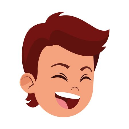 boy laughing hard face avatar cartoon character profile vector illustration graphic design
