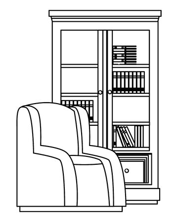 House wooden library with sofa furniture vector illustration graphic design
