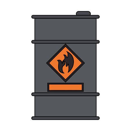 Petroleum oil barrel with flamme label vector illustration graphic design Ilustrace