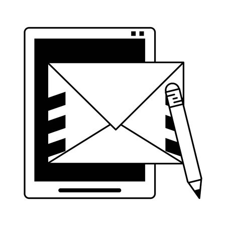 Tablet and letter with pencil symbol vector illustration graphic design Banque d'images - 129471340