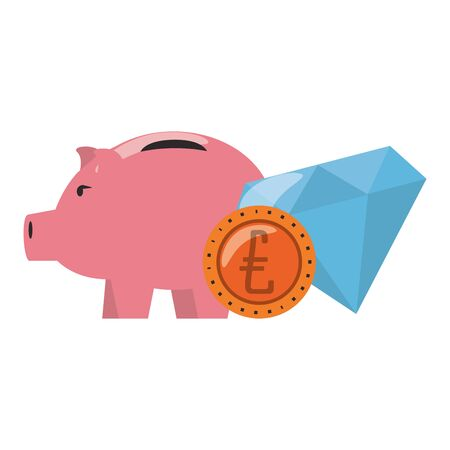 Money piggy with coin and diamond symbols vector illustration  イラスト・ベクター素材
