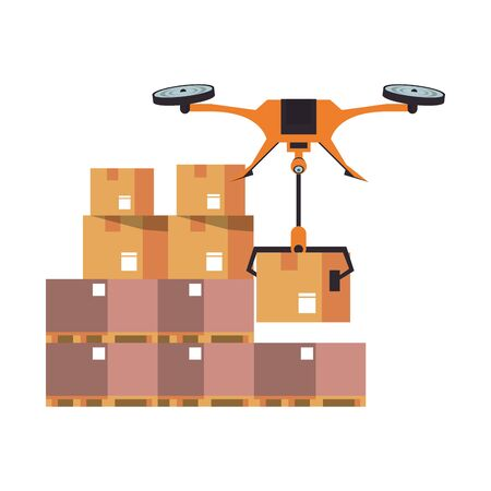 air drone remote control technology device delivery and logistic process with cardboard boxes in merchandise storage cartoon vector illustration graphic design  イラスト・ベクター素材