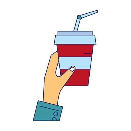 Hand grabbing soda cup with straw vector illustration graphic design