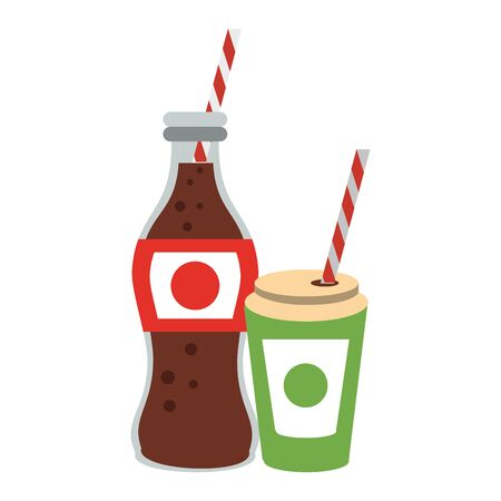 Cola soda bottle and cup to go with straw isolated vector illustration graphic design