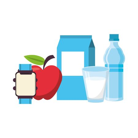 food and healthy life and milk water flask watch apple glass of milk symbols vector illustration graphic design Banco de Imagens - 129471534