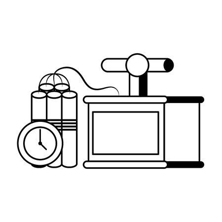 Mining tnt detonator with timer equipment vector illustration graphic design