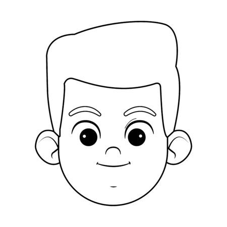 blond boy with blue eyes smiling face avatar profile picture cartoon character portrait in black and white vector illustration graphic design Ilustração