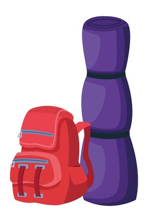Camping travel backpack with sleeping ,vector illustration .graphic design.