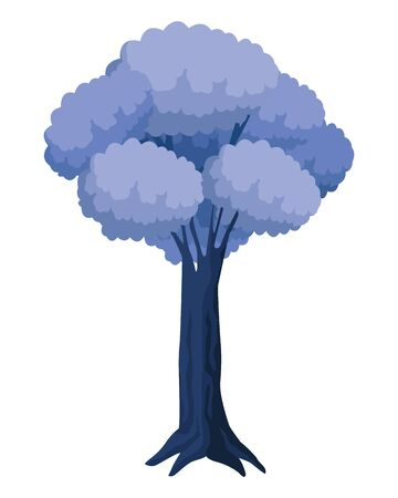 leafy and colorful tree icon with purple foliange isolated cartoon vector illustration graphic design