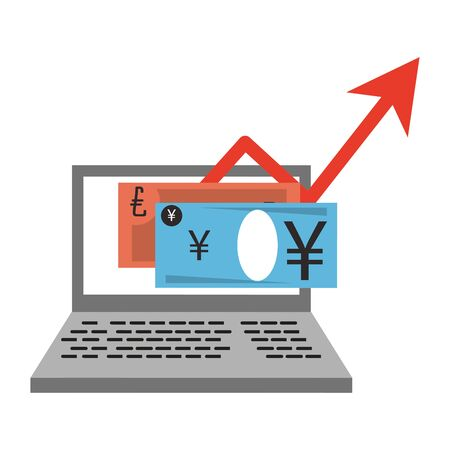 Online stock market investment euro and yen on laptop symbols vector illustration  イラスト・ベクター素材