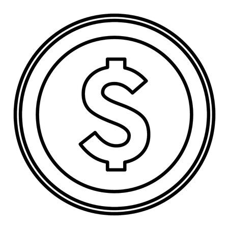 big golden coin with money symbol icon cartoon in black and white vector illustration graphic design
