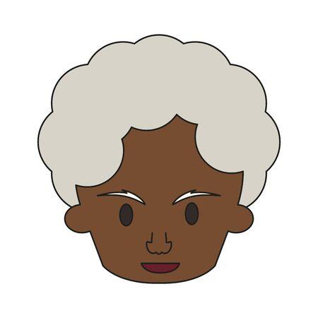 grandparent senior old retirement afro grandmother face cartoon vector illustration graphic design