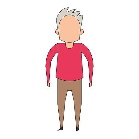 grandparent senior old retirement grandfather cartoon vector illustration graphic design Ilustração