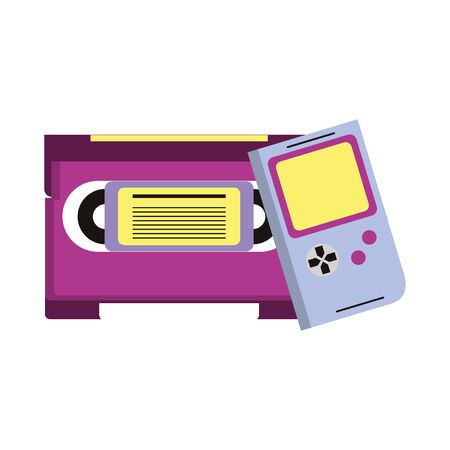 retro vintage game tetris gameplay console with cassette isolated cartoon vector illustration graphic design