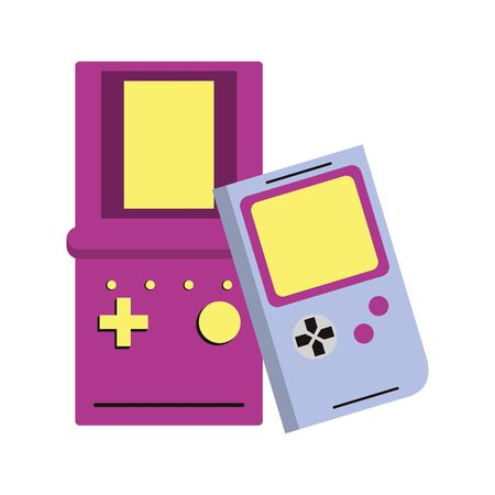 retro vintage game tetris gameplay consoles isolated cartoon vector illustration graphic design  イラスト・ベクター素材