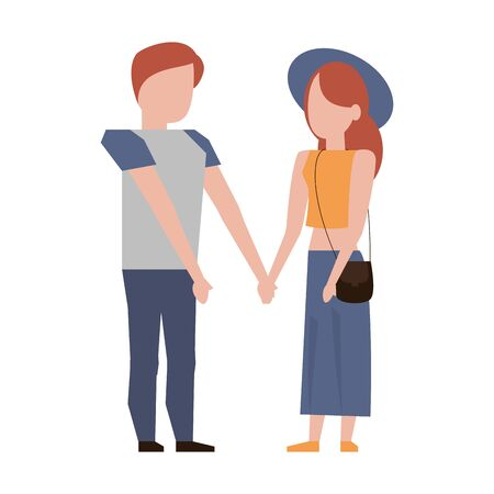 couple love young relationship partnership cartoon vector illustration graphic design