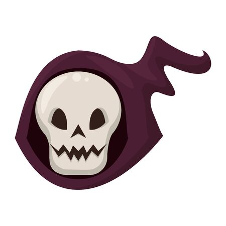 halloween october scary celebrationm skull death man face cartoon vector illustration graphic design