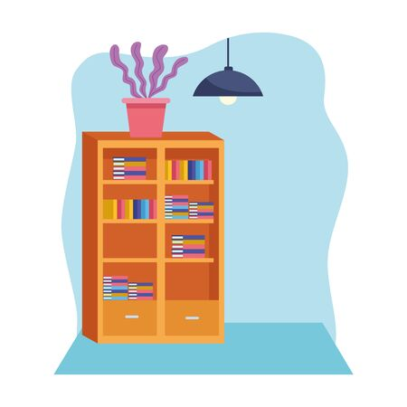 Office workplace library with books and light lamp elements cartoons ,vector illustration graphic design.