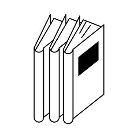 knowledge education element books cartoon vector illustration graphic design in black and white