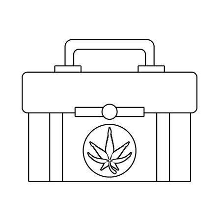 cannabis martihuana medical marijuana sativa hemp medicine plant kit cartoon vector illustration graphic design Çizim