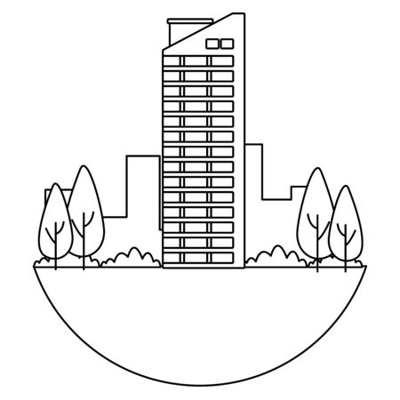 business edifice building skyscraper with windows real estate with trees and garden in black and white vector illustration graphic design.