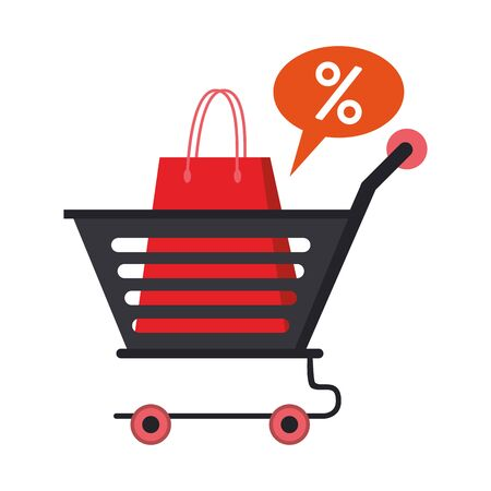 shopping retail sale store, shopping cart with shopping bag and discount price cartoon vector illustration graphic design