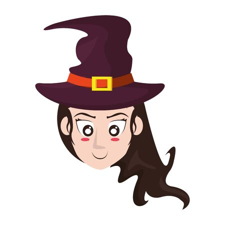 halloween october scary celebration, witch face cartoon vector illustration graphic design