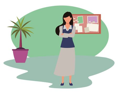 Executive businesswoman with crossed arms in the office with corkboard and plant pot ,vector illustration graphic design. Çizim