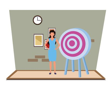 Executive businesswoman with target dartboard inside office building with clock and pictures vector illustration graphic design.