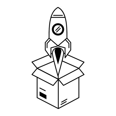 rocket taking off over box cartoon vector illustration graphic design