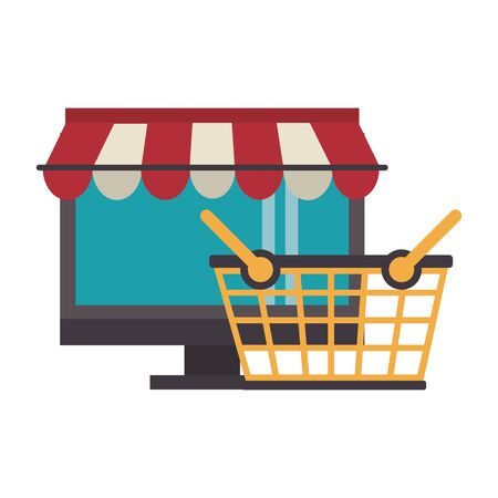 delivery commerce online sales computer cartoon vector illustration graphic design  イラスト・ベクター素材