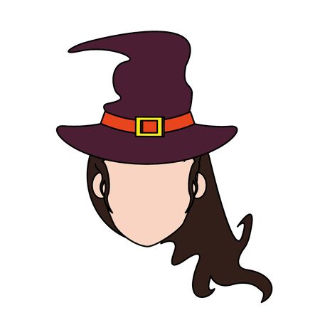 halloween october scary celebration, witch face cartoon vector illustration graphic design Stockfoto - 129531859