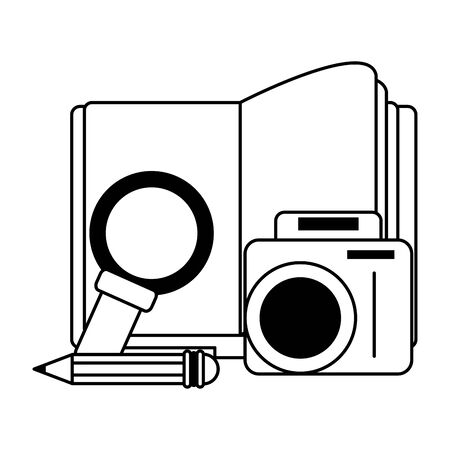 knowledge education concept elements cartoon vector illustration graphic design in black and white  イラスト・ベクター素材