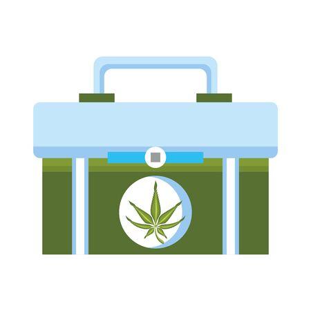 cannabis martihuana medical marijuana sativa hemp medicine plant kit cartoon vector illustration graphic design Illustration