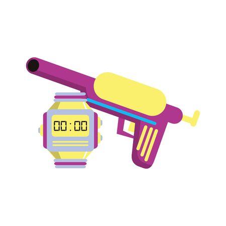 retro vintage pop art gun toy pistol with digital clock cartoon vector illustration graphic design