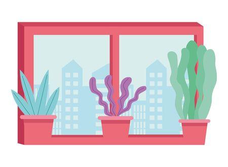 Windows cityscape view and plant pots cartoon ,vector illustration graphic design. Banque d'images - 129472846