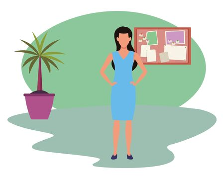 Executive businesswoman avatar faceless cartoon in the office with corkboard and plant pot ,vector illustration graphic design.
