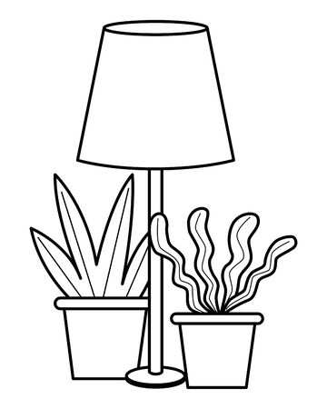 Office workplace light lamp and plant pots elements cartoons ,vector illustration graphic design. 일러스트