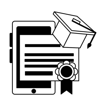 knowledge education technology concept elements cartoon vector illustration graphic design in black and white  イラスト・ベクター素材