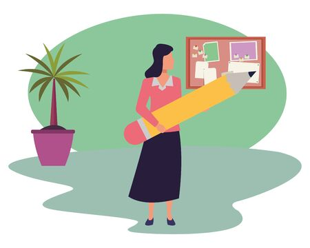 Executive businesswoman holding big pencil in the office with corkboard and plant pot ,vector illustration graphic design. Illustration