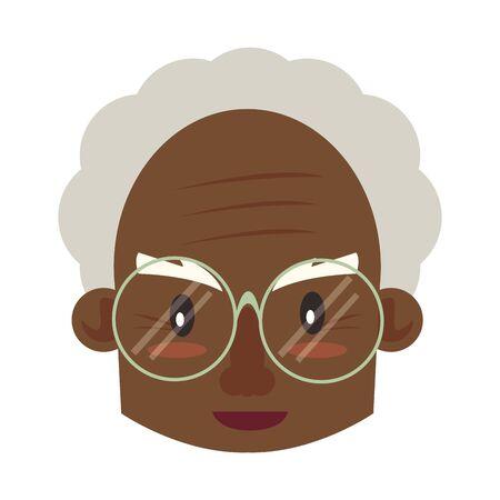 grandparent senior old retirement afro grandfather face cartoon vector illustration graphic design